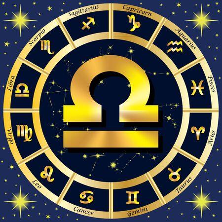 virgo: Los signos del zodiaco, constelaciones del zodiaco. En el centro del signo de Libra. ilustración.