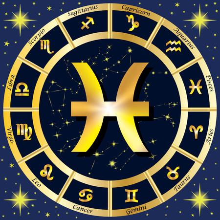 virgo: Los signos del zodiaco, constelaciones del zodiaco. En el centro del signo de Piscis. ilustración. Vectores