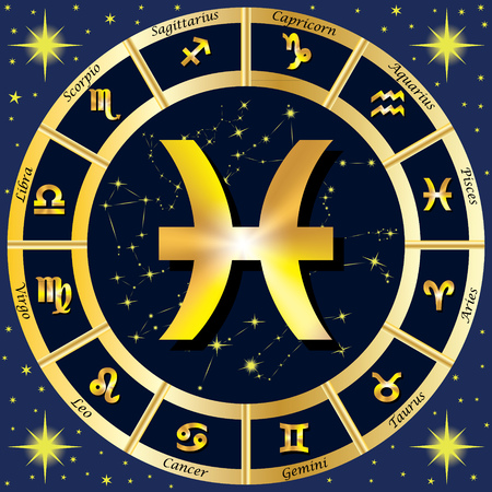 zodiac constellations: Zodiac Signs, Zodiac constellations. In the center of the sign of Pisces.  illustration. Illustration