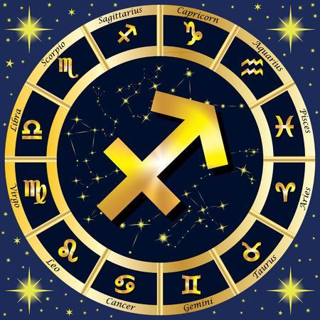 Sternzeichen, Sternkonstellationen. In der Mitte des Zeichen des Schützen. Illustration. Standard-Bild - 62265256