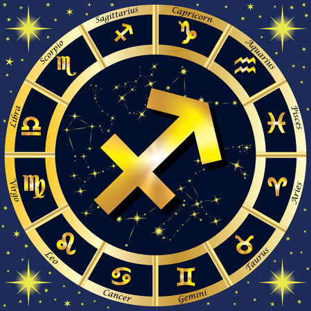 constellations: Zodiac Signs, Zodiac constellations. In the center of the sign of Sagittarius.  illustration.