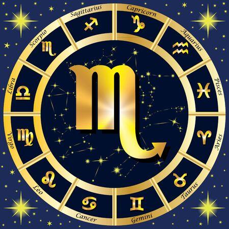 capricornio: Los signos del zodiaco, constelaciones del zodiaco. En el centro del signo de Escorpión. ilustración.