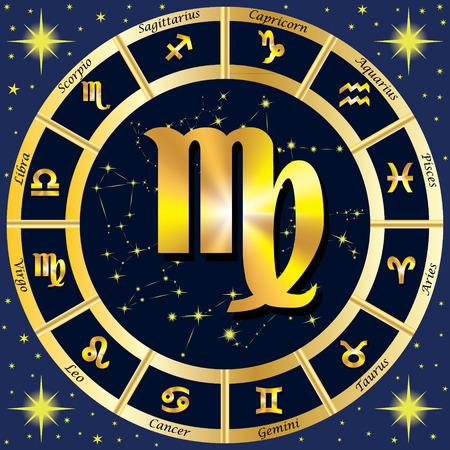 Sternzeichen, Sternkonstellationen. In der Mitte des Zeichen der Jungfrau. Illustration. Standard-Bild - 62265281