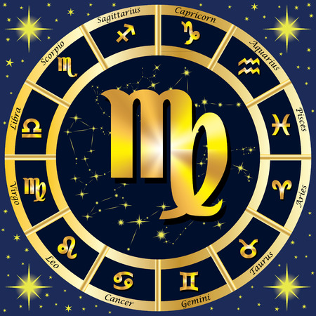 Zodiac Signs, Zodiac constellations. In the center of the sign of Virgo.  illustration.