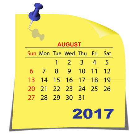 Note Paper Calendar August 2017 year. Yellow paper sheet. Vector image. Ilustrace