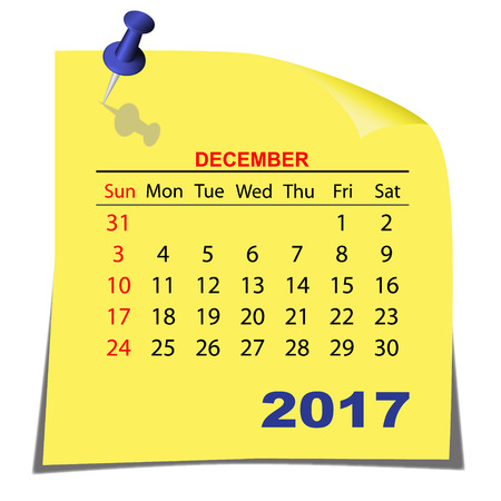 Note Paper Calendar December 2017 year. Yellow paper sheet. Vector image. Ilustrace