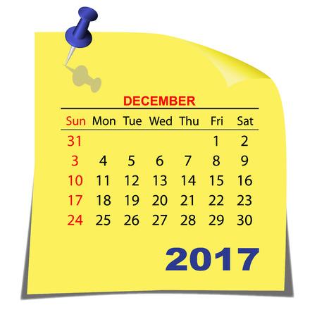 calendario diciembre: Note Paper Calendar December 2017 year. Yellow paper sheet. Vector image. Vectores