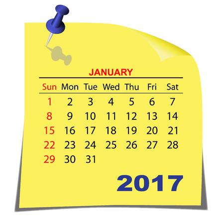 Hinweis Papier Kalender Januar 2017. Gelb Blatt Papier. Vektor-Bild. Standard-Bild - 65549775