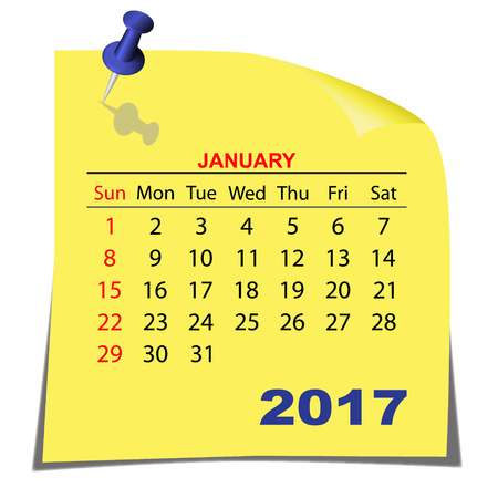 Note Paper Calendar  January 2017. Yellow paper sheet. Vector image.