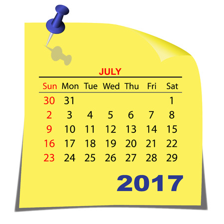 Note Paper Calendar July 2017 year. Yellow paper sheet. Vector image.