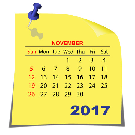 Note Paper Calendar November 2017 year. Yellow paper sheet. Vector image.