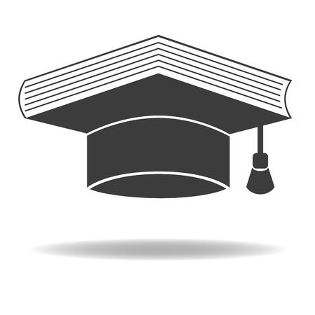 Graduate Cap und Buch als Bildung Symbol. Vector-Symbol. Isoliert auf weißem Hintergrund. Standard-Bild - 69686360