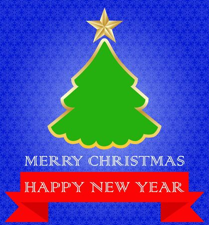 Green Christmas tree with gold trim and a star on top. Blue background with snowflakes. Red ribbon with a congratulation on Christmas and New Year. Vector image.
