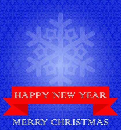 Blue background with snowflakes, red ribbon. White text, Merry Christmas and New Year. Vector Image. Ilustrace