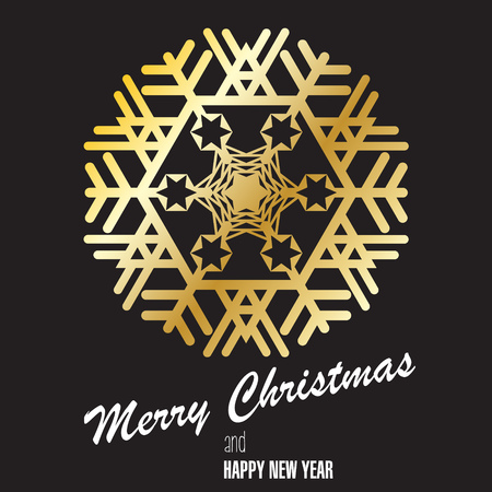 Gold snowflake on black background. Postcard, congratulating. Merry Christmas, Happy New Year. Vector image.
