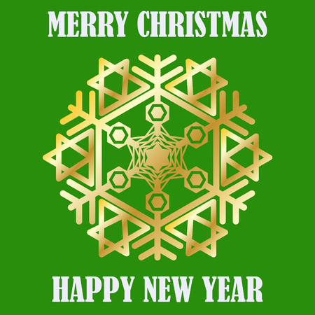 Congratulation Happy New Year and Merry Christmas. Gold snowflake. Postcard. Vector Image. Ilustrace