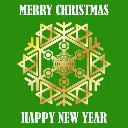 Gratulation frohes neues Jahr und frohe Weihnachten. Gold-Schneeflocke. Postkarte. Vektor Bild. Standard-Bild - 68674922