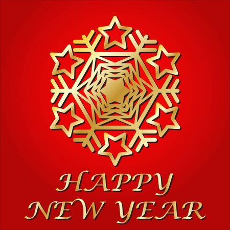 Congratulation Happy New Year. Gold snowflake. Postcard. Vector Image.
