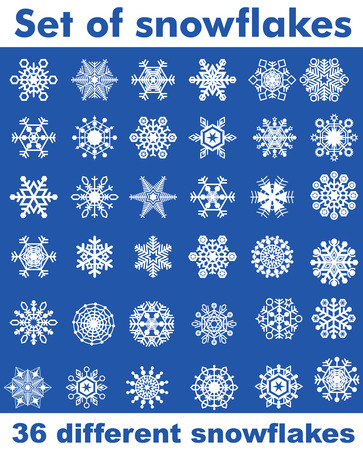Set of snowflakes of different shapes. Easy to transform, recoloured.