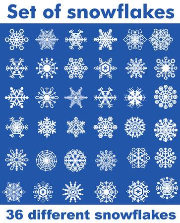 Set Schneeflocken verschiedener Formen. Leicht zu transformieren, recoloured. Standard-Bild - 66970325