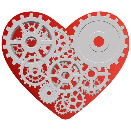 Vector drawing of a heart with a mechanism consisting of gears inside Ilustrace