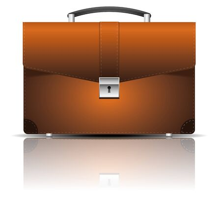 Leather briefcase icon with shadow and reflection