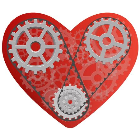 Vector drawing of a heart with a mechanism consisting of gears inside.