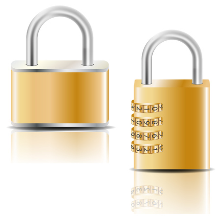 Golden padlock and golden combination padlock. Vector image. Ilustrace
