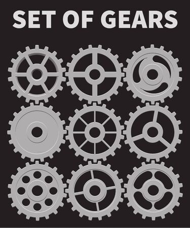 Set of gears in different shapes. Ilustrace