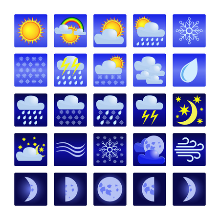 Set of color weather icons in blue squares.