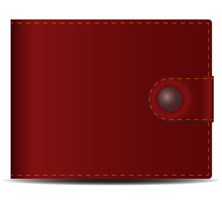 Mens wallet. Brown leather mens purse with a metal button. Illustration