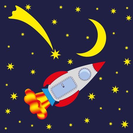 Rakete, Raum, Mond, Kometen. Vektor-Bild. Standard-Bild - 69366497