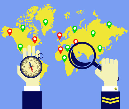Worldmap, compass, captain. Captain looks at the map with a lens and compass in hand. Vector image.