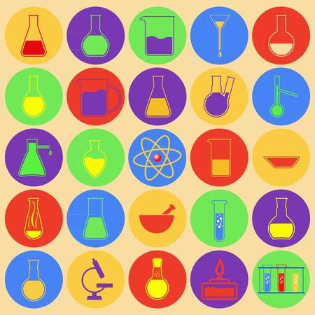 Laboratory glassware. Simple colored icons. Set of vector icons.