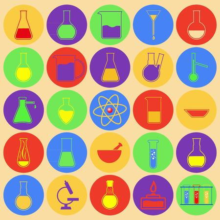 Laborglas. Einfache farbige Symbole. Set von Vektor-Icons. Standard-Bild - 69587091