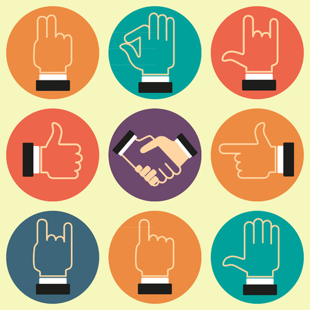 Set of icons with various hand gestures. Vector image. Ilustrace