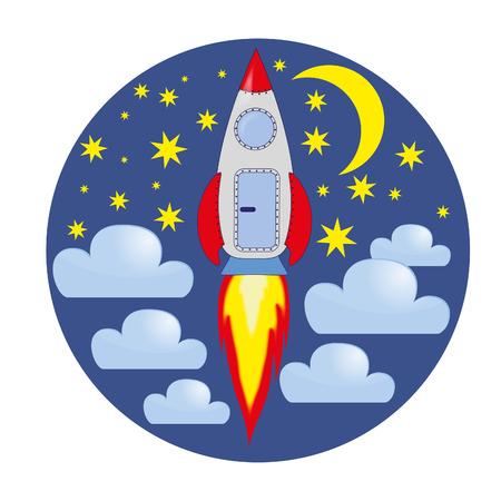 Karikatur einer Rakete in den Himmel von Sternen und Wolken. Rakete, Wolken, Sterne, Mond Standard-Bild - 70649032