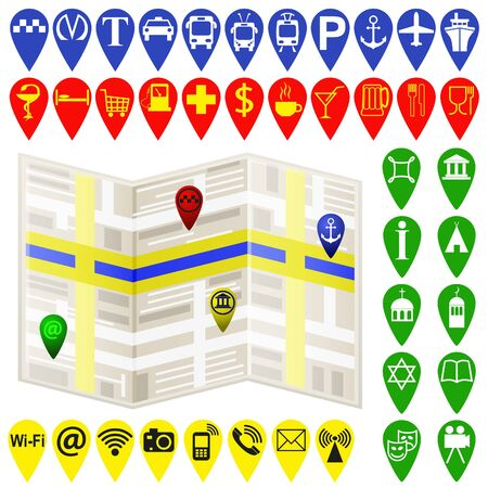 Vector Navigation Karte und Karte Navigation Symbole und Pin auf weißem Hintergrund. Farbe Vektor-Illustration. Standard-Bild - 70277688