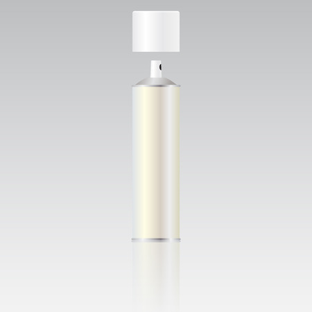 Metall-Flasche mit Sprüher Kappe für kosmetische, Parfüm, Deodorant oder Erfrischungsmittel oder Haarspray. Verpackung. Blank Sprühflasche für Vorlage. Vektor-Bild. Standard-Bild - 70234748