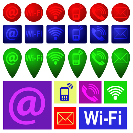 Colourful communication mobile, sms and e-mail icons of different shapes. Vector image. Ilustrace