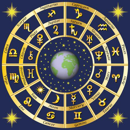 Astrologie. Sternzeichen und Planeten Herrscher Zeichen. Standard-Bild - 71165297