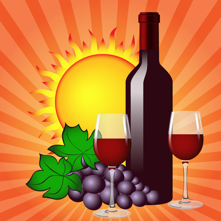 Still life with wine bottle, two glasses, grapes and sun. Vector image. Ilustrace
