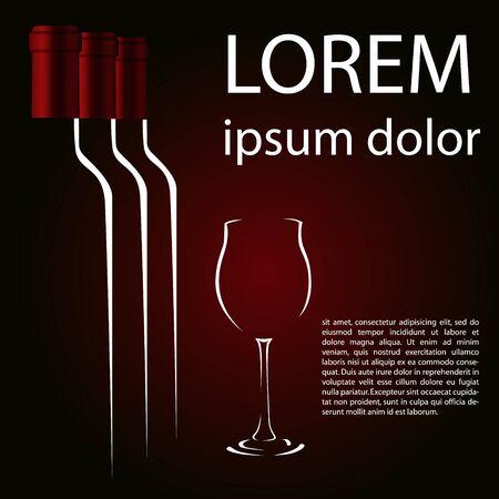 Ein Glas Rotwein und drei Flaschen Rubinhintergrund Standard-Bild - 71206578