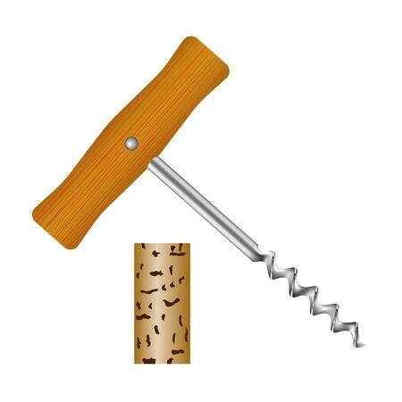Korkenzieher mit Holzgriff und Weinkorken Standard-Bild - 71206579