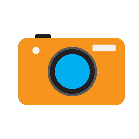 Photo camera. Vector icon. Orange color. Flat style.
