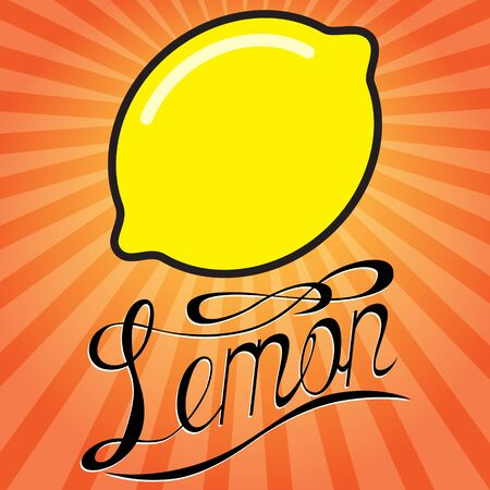 Lemon color flat icon with lettering. Vector image. Ilustrace