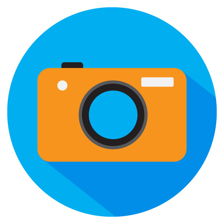 Photo camera. Vector icon. Orange color camera on blue circle with shadow. Flat style. Ilustrace
