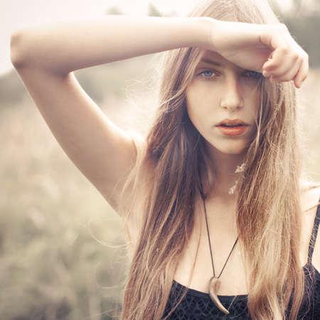 moda: retrato de la rubia sexy Foto de archivo