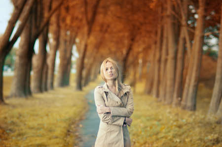 beautiful girl in the autumn park Stock Photo