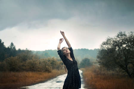 beautiful girl in the rain Stock Photo - 15739017